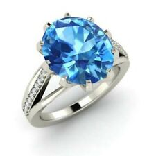 Oval Cut Real 14Kt White Gold 3.2 Carat real Diamond Blue Topaz Gemstone Ring