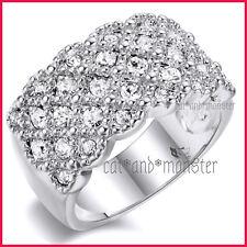 18K WHITE GOLD GF LADIES GIRLS LUXURY WEDDING DRESS COCKTAIL CRYSTALS BAND RING