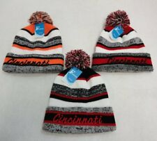 24 PC Lot Cincinatti Embroidered Beanie PomPom Winter Toboggan Hats Stripes