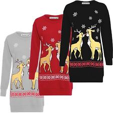Womens Christmas Reindeer Printed Long Sleeve X-mass Sweatshirt Jumper Dress