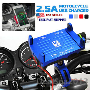 Aluminum Motorcycle Handlebar Cell Phone Holder Mount USB Fast Charger w/Switch