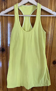 LULULEMON CRB Cool Racerback Tank In Yellow Neon White Stitch S