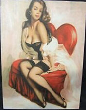 Oil on Canvas Retro Vintage Wall Art ~ Sexy Brunette on Red Heart Chair 17/8516