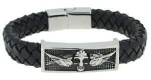 Clochard Fashion Mens Bracelet Leather Black Stainless Steel Wings And Skull