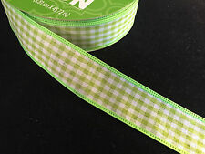 "50 Yards! Easter Spring Green Gingham  Wired Ribbon 1.5"" Wide Wholesale Lot Bulk"