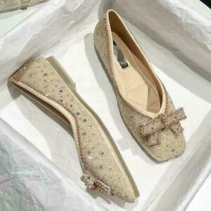 New Women Sequined Bowknot Accessories Round Toe Fashionable Flat Shoes Oversize