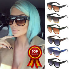 Black Leopard Flat Top Oversized Shadow Shield Women Ladies Sunglasses Shade