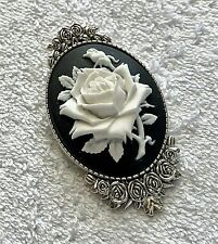 White ROSE Cameo BROOCH PIN -  ANTIQUED SILVER Vintage Style - VICTORIAN GIFT