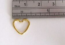 Gold Titanium Heart Seamless Cartilage Daith Tragus Helix Hoop Ring 16 gauge