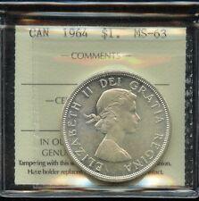1964 Canada Silver Dollar - ICCS MS-63 Cert# XVZ 962