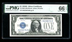 DBR Rare 1928-D $1 Silver Gem Fr. 1604 DB Block PMG 66 EPQ Serial D82598794B