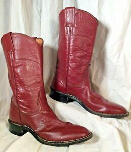 Vtg Nocona Womens 6A Maroon Leather Flower Detail Western Roper Cowboy Boots EUC