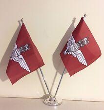"""PARACHUTE REGIMENT DELUXE SATIN TABLE FLAG TWIN SET 9""""X6"""" CHROME POLE & BASE"""