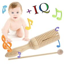 Wooden Single Agogo Guiro Tone Block Percussion with Beater Musical Toy kid Gift