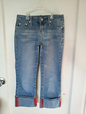 Women's Girls Junior Blue Denim Cropped Capri Jeans, Size 1, Zana Di Jeans