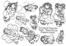 Unmounted Rubber Stamp Sheets, Whimsical Stamps, Doll, Dolls, Cat, Angels, Kitty