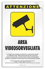 """Cartello PVC adesivo """"Zona Videosorvegliata"""" negozio/studio/laboratorio/officina"""