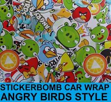 Sticker Bomb Gloss Car Wrap 1520 x 200mm - Bubble Free Vinyl - Angry Birds