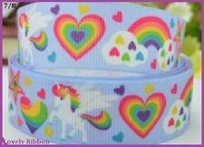 1 metre, UNICORN, Rainbow, Hearts, 22mm, Ribbon, 7/8, Grosgrain, Hair, Sewing