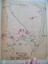 1813 GERMANIA: MAPPA MANOSCRITTA ESERCITO NAPOLEONICO NELLA BATTAGLIA DI LUTZEN