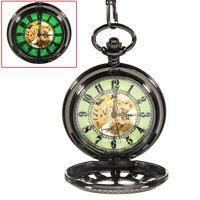 Mechanical Luminous Skeleton Automatic Steampunk Mens Pocket Watch Vintage Black
