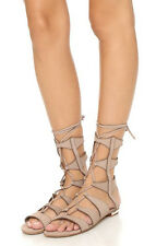 Schutz Samena Gladiator Sandals New w/Box Neutral Taupe Nubuck Leather Sz 10 B