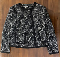 Karl Lagerfeld Paris Women's Jacket Black / White Button Up, Size 8
