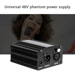 48V Phantom Power Supply with Adapter & XLR Audio Cable for Condenser Microp SR