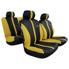 Yellow Black GTS Racing Embroidered Sports Poly Cotton Airbag Car Seat Covers