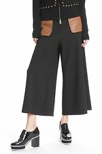 TRACY REESE 6 BLACK  MODULAR CULOTTE brown faux leather pockets culottes gauchos