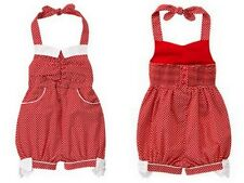 Janie & Jack CAMELLIA SUMMER Red White Dot Halter Retro Romper Girls Sz 12-18 M