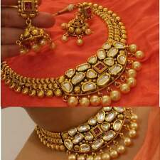 Women Gold Plated Indian Bollywood Kundan Traditional Bridal Necklace Earrings