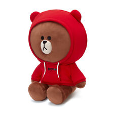 [ LINE Friends ] Red Hoodie Brown Bear Big Jumbo Size 16inch / 42cm Plush Doll