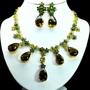 REAL OLIVE GREEN QUARTZ CHROME DIOPSIDE PERIDOT EARRINGS & NECKLACE 925 SILVER