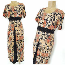 Vintage 80s Floral Kaftan Tunic Dress Size Medium Floral Pencil Grunge BOHO