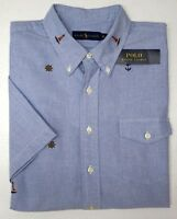 NWT $89 Polo Ralph Lauren Oxford ShortSleeve Shirt Mens Blue Lighthouse NEW