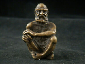 Beautiful Antique Tibetan Brass Hand Made *Sitting Arhat* Statue E023