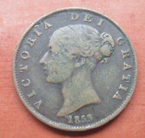 1855 victorian half penny coin nice good condition, see photos,