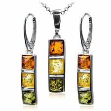 Multicolor Amber Sterling Silver Square Leverback Earrings Necklace Set