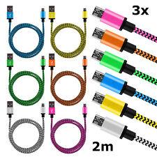 3 x 2m Datenkabel Ladekabel Micro USB Kabel Nylon Kordel Samsung Galaxy Android