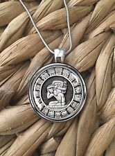 Mayan Zodiac Calendar Glass Pendant Silver Chain Necklace NEW