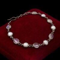 Antique Vintage Deco 925 Sterling Silver Moonstone Mabe Pearl Tennis Bracelet
