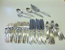 64 Piece 1847 Rogers Flair International Silver plate Flatware Set 12 Modernist
