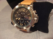 ARMANI EXCHANGE AX1516 MEN'S WELLWORN LEATHER WATCH BLACK TAN - BRAND NEW - NWT