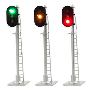 3pcs Model Railroad 1:87 Train Signals HO Scale 3-Lights Block Signal 12V GYR