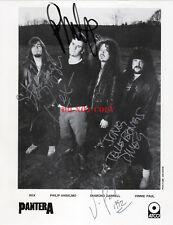 Pantera Signed Autograph Photo 8X10 Dimebag & Vinnie Paul Rex Phil RARE  Reprint