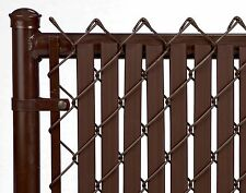 Chain Link Brown Double Wall Tube™ Privacy Slat for 10ft High Fence Bottom Lock