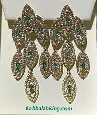 Yellow Gold Sterling Silver Green & White Sapphire Long Halo Chandelier Earrings