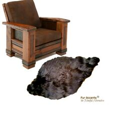 3' Brown Faux Fur Beaver Skin - Sheepskin Area Rug - Shag Throw - Bear Skin Pelt