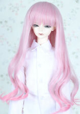 "1/4 7-8""LUTS BJD SD LUTS MSD DOD DD Dollfie Doll Wig Long Curly Pink Hair"